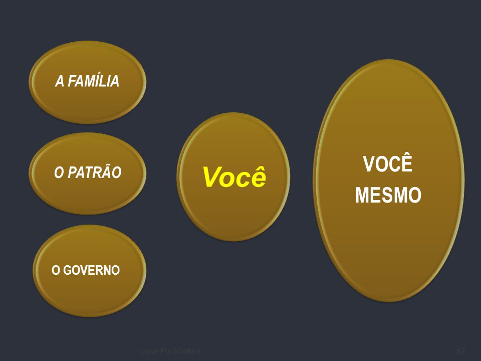 José Pio Martins62 Você VOCÊ MESMO O GOVERNO O PATRÃO A FAMÍLIA