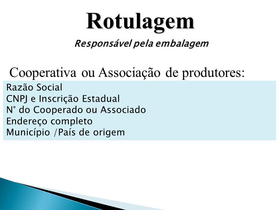 Rotulagem Responsável pela embalagem Cooperativa ou Associação de produtores: Razão Social CNPJ e Inscrição Estadual N° do Cooperado ou Associado Ende