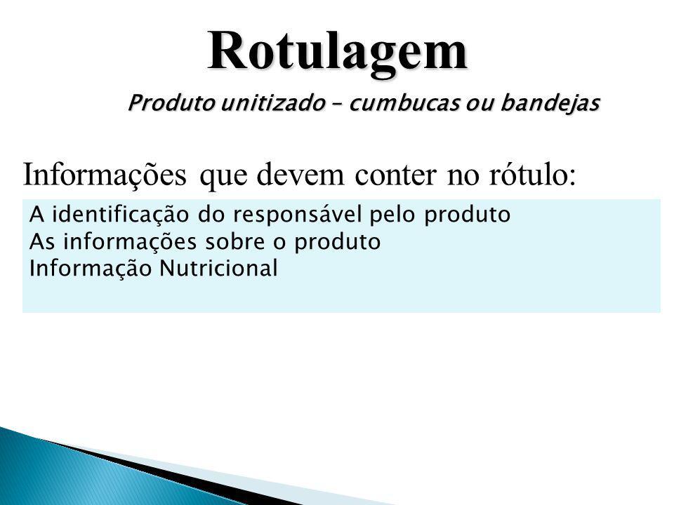 Rotulagem Informações que devem conter no rótulo: A identificação do responsável pelo produto As informações sobre o produto Informação Nutricional Pr