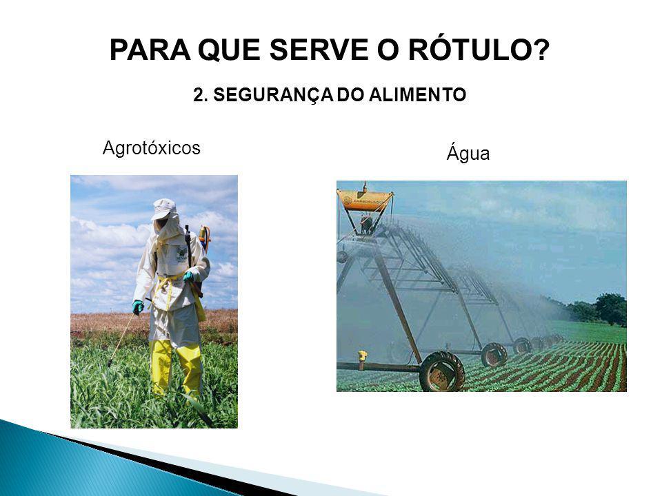Agrotóxicos PARA QUE SERVE O RÓTULO? 2. SEGURANÇA DO ALIMENTO Água
