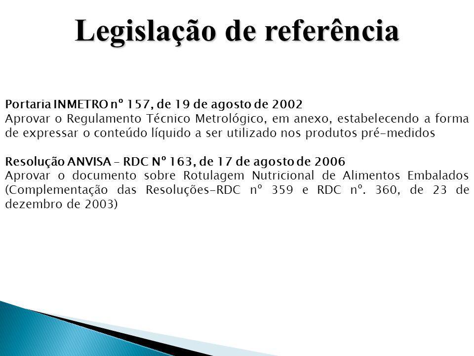 Legislação de referência Portaria INMETRO nº 157, de 19 de agosto de 2002 Aprovar o Regulamento Técnico Metrológico, em anexo, estabelecendo a forma d