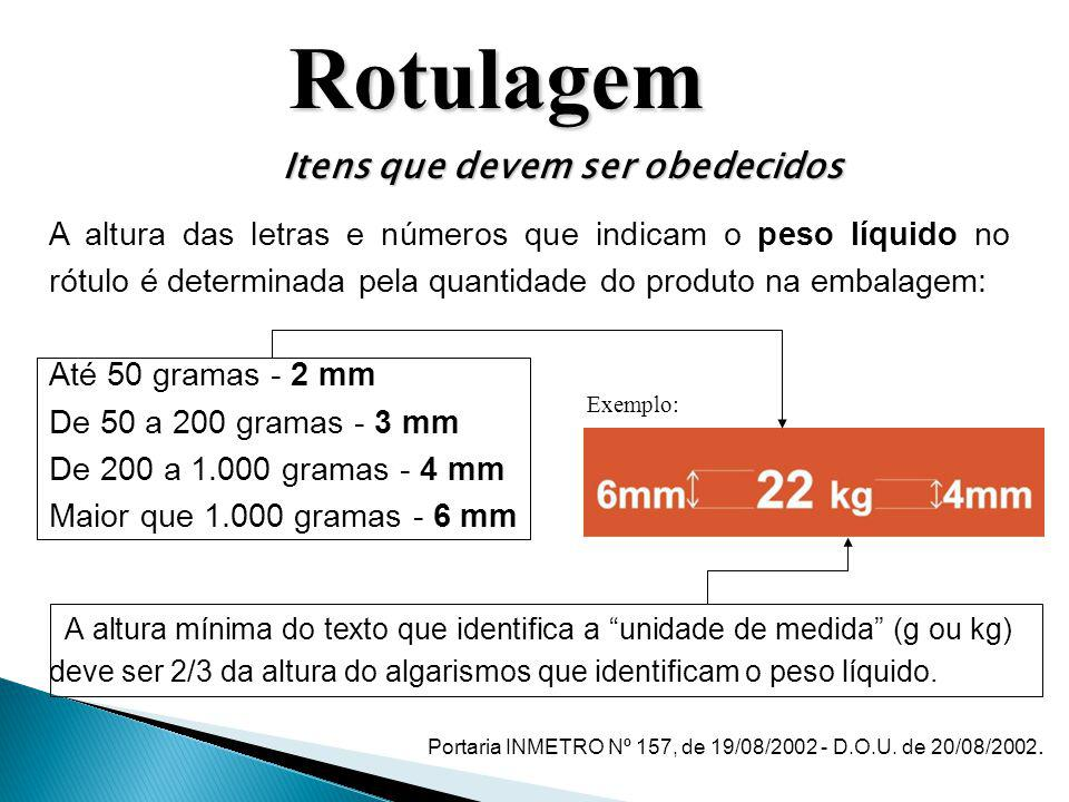 A altura das letras e números que indicam o peso líquido no rótulo é determinada pela quantidade do produto na embalagem: Até 50 gramas - 2 mm De 50 a