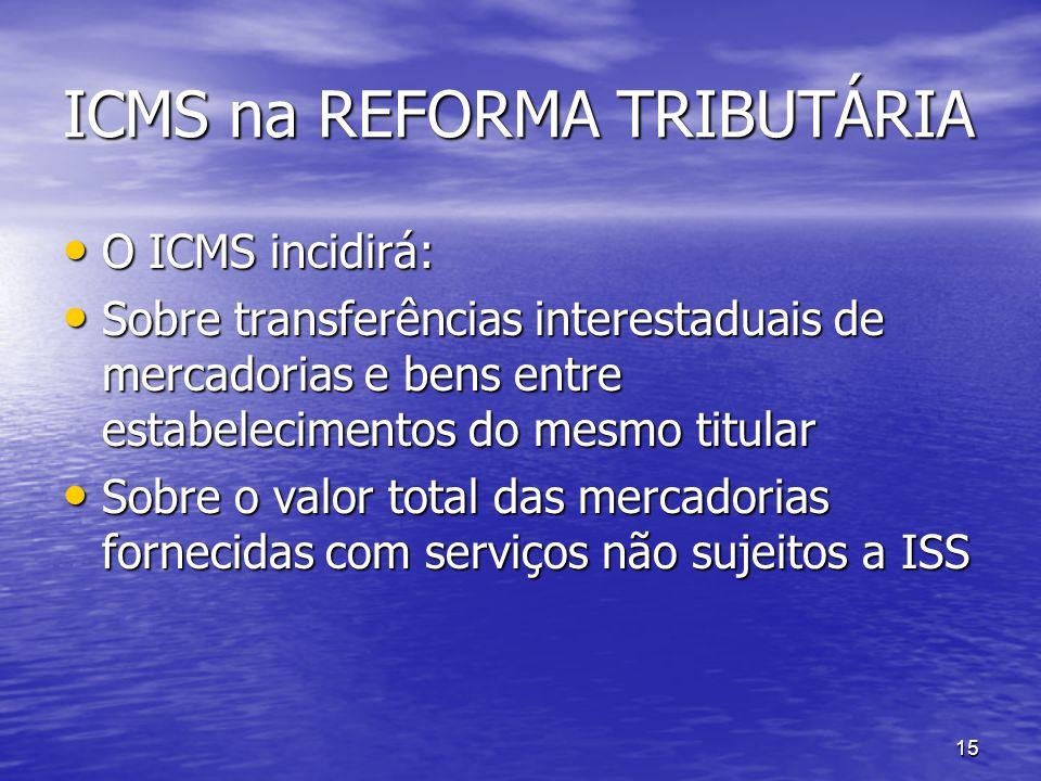 15 ICMS na REFORMA TRIBUTÁRIA O ICMS incidirá: O ICMS incidirá: Sobre transferências interestaduais de mercadorias e bens entre estabelecimentos do me