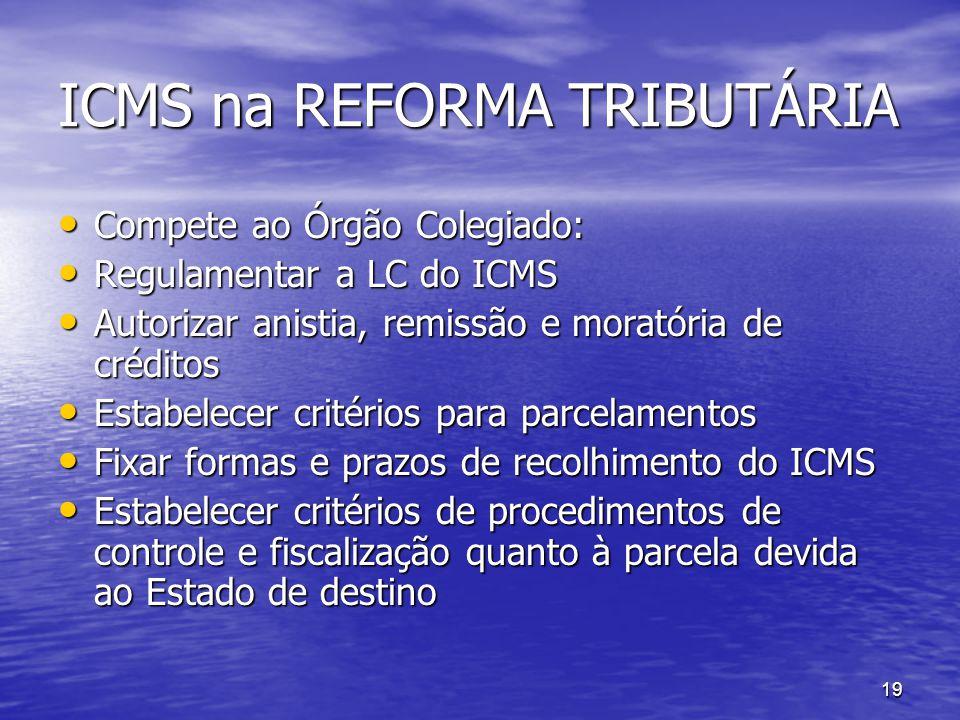 19 ICMS na REFORMA TRIBUTÁRIA Compete ao Órgão Colegiado: Compete ao Órgão Colegiado: Regulamentar a LC do ICMS Regulamentar a LC do ICMS Autorizar an