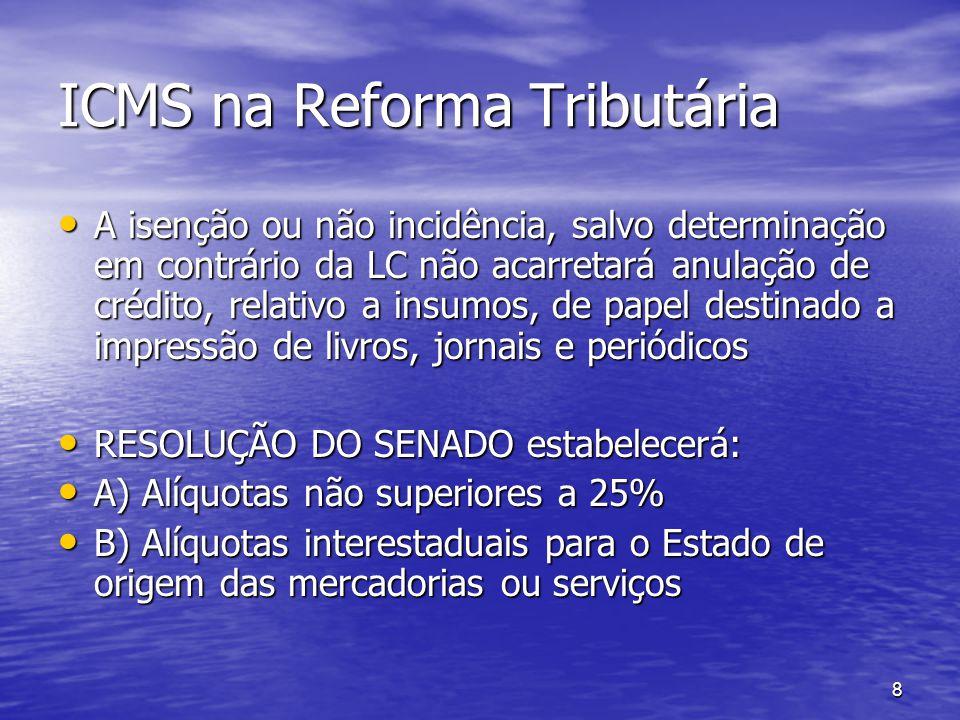 8 ICMS na Reforma Tributária A isenção ou não incidência, salvo determinação em contrário da LC não acarretará anulação de crédito, relativo a insumos