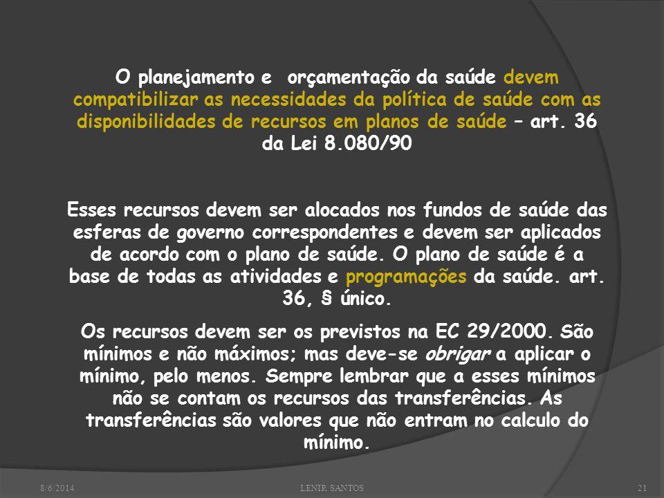 8/6/2014LENIR SANTOS21 O planejamento e orçamentação da saúde devem compatibilizar as necessidades da política de saúde com as disponibilidades de recursos em planos de saúde – art.