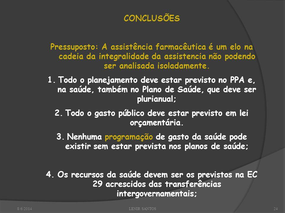8/6/2014LENIR SANTOS24 CONCLUSÕES Pressuposto: A assistência farmacêutica é um elo na cadeia da integralidade da assistencia não podendo ser analisada isoladamente.