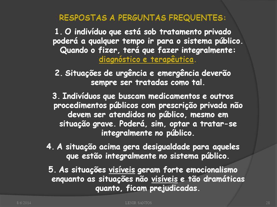 8/6/2014LENIR SANTOS28 RESPOSTAS A PERGUNTAS FREQUENTES: 1.O indivíduo que está sob tratamento privado poderá a qualquer tempo ir para o sistema público.