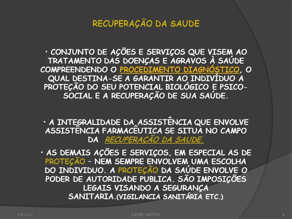 8/6/2014LENIR SANTOS8 RECUPERAÇÃO DA SAUDE CONJUNTO DE AÇÕES E SERVIÇOS QUE VISEM AO TRATAMENTO DAS DOENÇAS E AGRAVOS À SAÚDE COMPREENDENDO O PROCEDIMENTO DIAGNÓSTICO, O QUAL DESTINA-SE A GARANTIR AO INDIVÍDUO A PROTEÇÃO DO SEU POTENCIAL BIOLÓGICO E PSICO- SOCIAL E A RECUPERAÇÃO DE SUA SAÚDE.