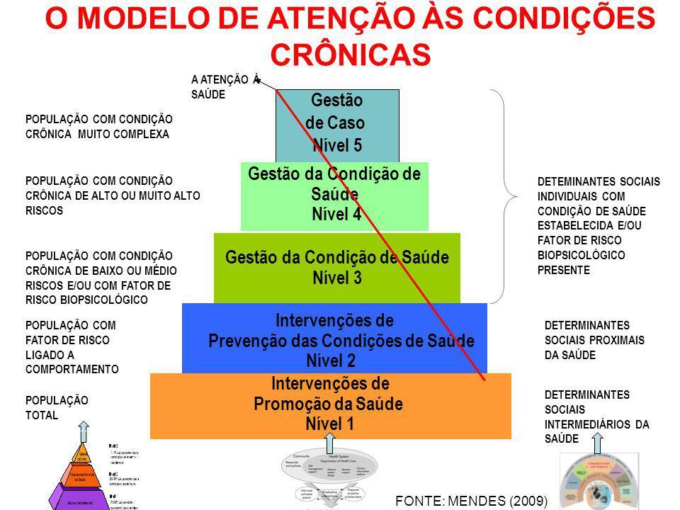 O MODELO DE ATENÇÃO ÀS CONDIÇÕES CRÔNICAS DETERMINANTES SOCIAIS INTERMEDIÁRIOS DA SAÚDE POPULAÇÃO TOTAL POPULAÇÃO COM FATOR DE RISCO LIGADO A COMPORTA