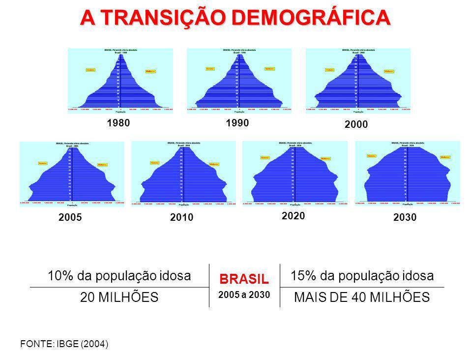 FONTE: IBGE (2004) A TRANSIÇÃO DEMOGRÁFICA 10% da população idosa BRASIL 2005 a 2030 15% da população idosa 20 MILHÕESMAIS DE 40 MILHÕES 19801990 2000