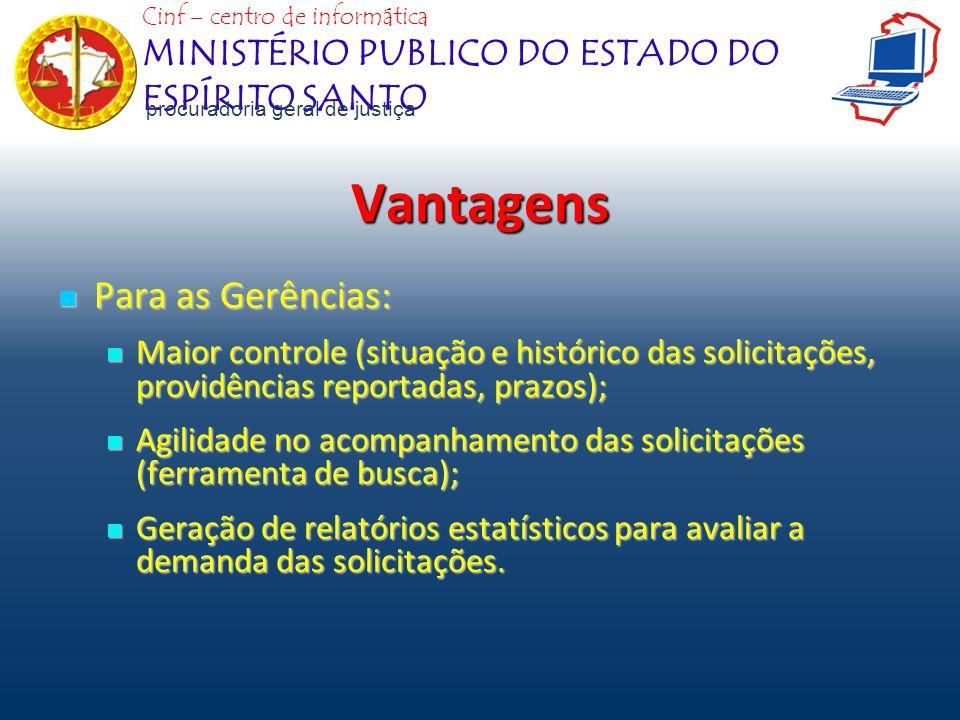 Vantagens Para as Gerências: Para as Gerências: Maior controle (situação e histórico das solicitações, providências reportadas, prazos); Maior control