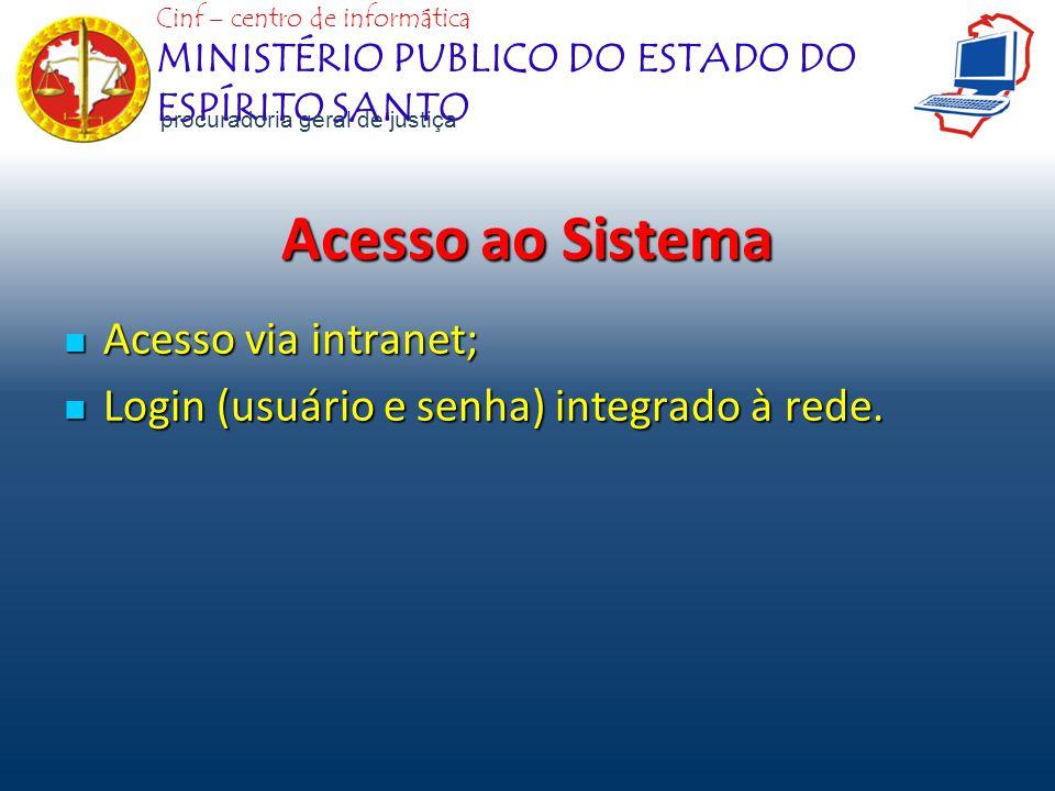 Acesso ao Sistema Acesso via intranet; Acesso via intranet; Login (usuário e senha) integrado à rede. Login (usuário e senha) integrado à rede. Cinf –