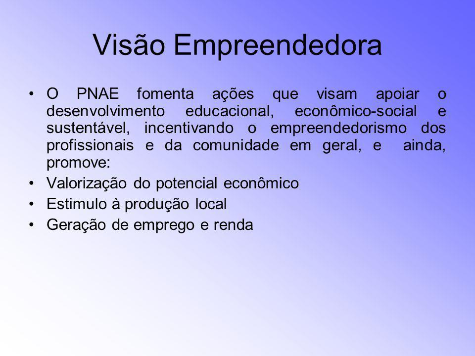 Visão Empreendedora O PNAE fomenta ações que visam apoiar o desenvolvimento educacional, econômico-social e sustentável, incentivando o empreendedoris