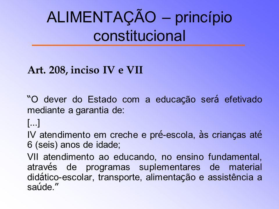 ALIMENTAÇÃO – princípio constitucional Art. 208, inciso IV e VII O dever do Estado com a educa ç ão ser á efetivado mediante a garantia de: [ … ] IV a