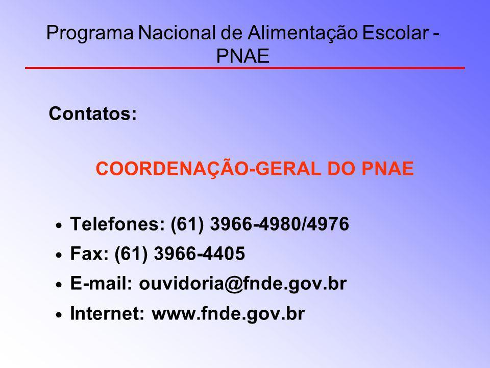 Programa Nacional de Alimentação Escolar - PNAE Contatos: COORDENAÇÃO-GERAL DO PNAE Telefones: (61) 3966-4980/4976 Fax: (61) 3966-4405 E-mail: ouvidor