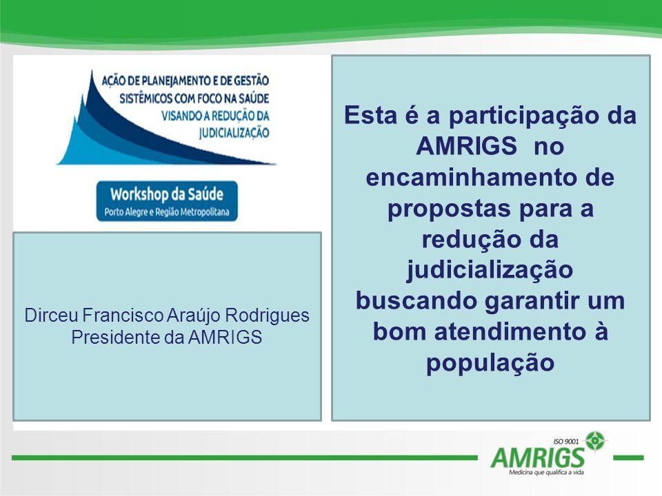 Esta é a participação da AMRIGS no encaminhamento de propostas para a redução da judicialização buscando garantir um bom atendimento à população Dirceu Francisco Araújo Rodrigues Presidente da AMRIGS