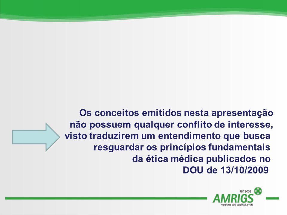 Os conceitos emitidos nesta apresentação não possuem qualquer conflito de interesse, visto traduzirem um entendimento que busca resguardar os princípios fundamentais da ética médica publicados no DOU de 13/10/2009