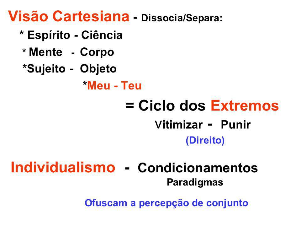 Visão Cartesiana - Dissocia/Separa: * Espírito - Ciência * Mente - Corpo *Sujeito - Objeto *Meu - Teu = Ciclo dos Extremos v itimizar - Punir (Direito