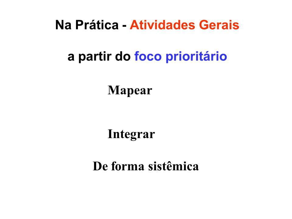 Na Prática - Atividades Gerais a partir do foco prioritário Integrar Mapear De forma sistêmica
