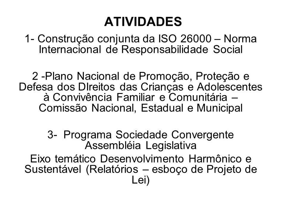 ATIVIDADES 1- Construção conjunta da ISO 26000 – Norma Internacional de Responsabilidade Social 2 -Plano Nacional de Promoção, Proteção e Defesa dos D