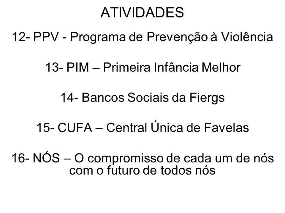 ATIVIDADES 12- PPV - Programa de Prevenção à Violência 13- PIM – Primeira Infância Melhor 14- Bancos Sociais da Fiergs 15- CUFA – Central Única de Fav