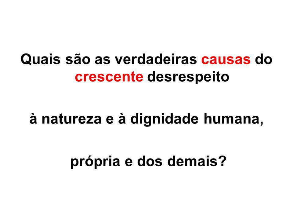 Quais são as verdadeiras causas do crescente desrespeito à natureza e à dignidade humana, própria e dos demais?