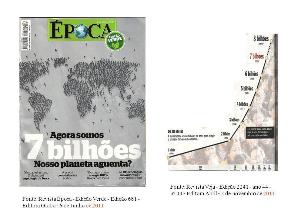 Fonte: Revista Época - Edição Verde - Edição 681 - Editora Globo - 6 de Junho de 2011 Fonte: Revista Veja - Edição 2241 - ano 44 - nº 44 - Editora Abr