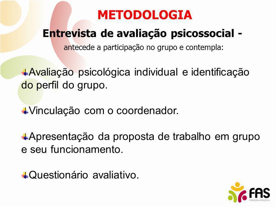 Entrevista de avaliação psicossocial - antecede a participação no grupo e contempla: Avaliação psicológica individual e identificação do perfil do gru
