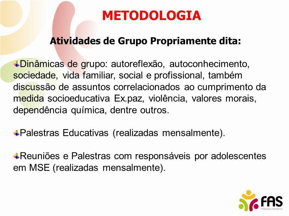 Atividades de Grupo Propriamente dita: Dinâmicas de grupo: autoreflexão, autoconhecimento, sociedade, vida familiar, social e profissional, também dis