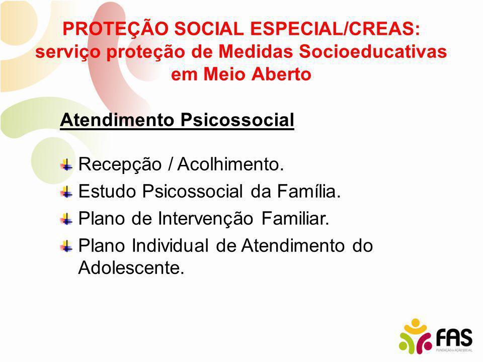 PROTEÇÃO SOCIAL ESPECIAL/CREAS: serviço proteção de Medidas Socioeducativas em Meio Aberto Atendimento Psicossocial Recepção / Acolhimento. Estudo Psi