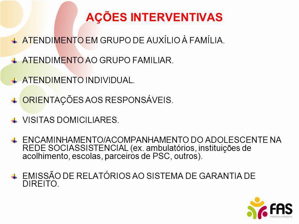 AÇÕES INTERVENTIVAS ATENDIMENTO EM GRUPO DE AUXÍLIO À FAMÍLIA. ATENDIMENTO AO GRUPO FAMILIAR. ATENDIMENTO INDIVIDUAL. ORIENTAÇÕES AOS RESPONSÁVEIS. VI