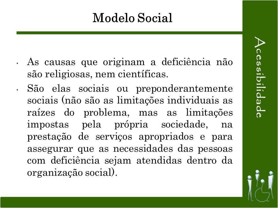 Modelo Social As causas que originam a deficiência não são religiosas, nem científicas. São elas sociais ou preponderantemente sociais (não são as lim