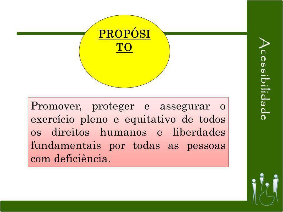 PROPÓSI TO Promover, proteger e assegurar o exercício pleno e equitativo de todos os direitos humanos e liberdades fundamentais por todas as pessoas c