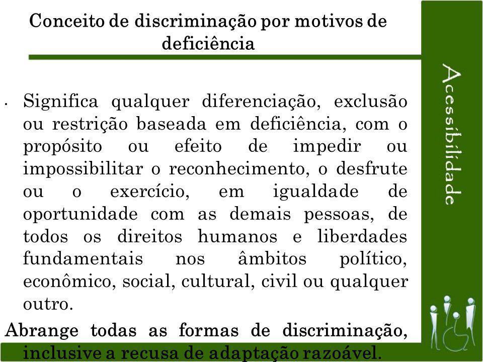 Conceito de discriminação por motivos de deficiência Significa qualquer diferenciação, exclusão ou restrição baseada em deficiência, com o propósito o