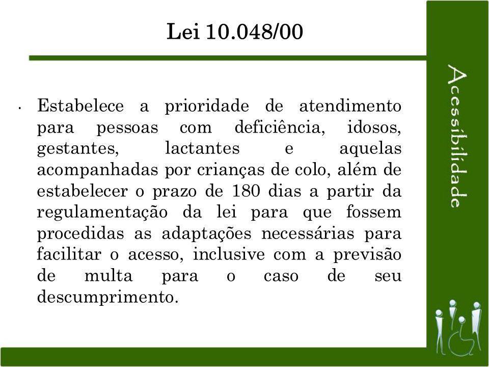 Lei 10.048/00 Estabelece a prioridade de atendimento para pessoas com deficiência, idosos, gestantes, lactantes e aquelas acompanhadas por crianças de