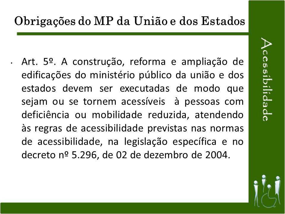 Obrigações do MP da União e dos Estados Art. 5º. A construção, reforma e ampliação de edificações do ministério público da união e dos estados devem s