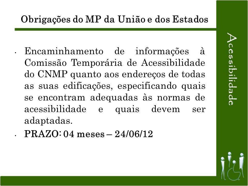 Obrigações do MP da União e dos Estados Encaminhamento de informações à Comissão Temporária de Acessibilidade do CNMP quanto aos endereços de todas as