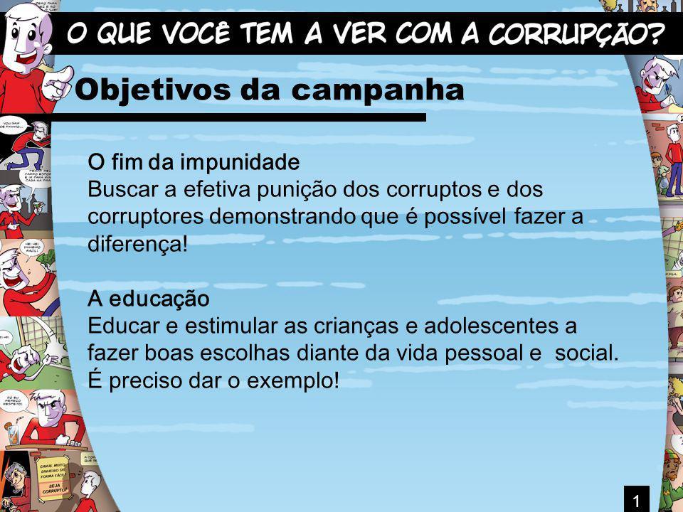 1 Objetivos da campanha O fim da impunidade Buscar a efetiva punição dos corruptos e dos corruptores demonstrando que é possível fazer a diferença! A