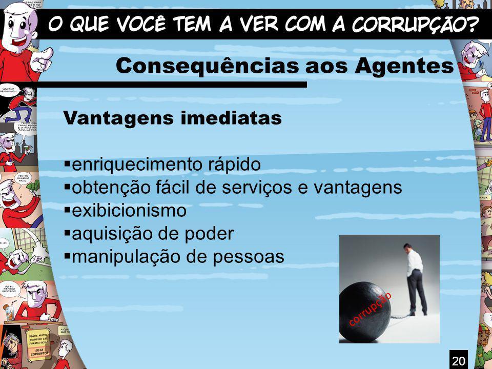 20 Consequências aos Agentes Vantagens imediatas enriquecimento rápido obtenção fácil de serviços e vantagens exibicionismo aquisição de poder manipul