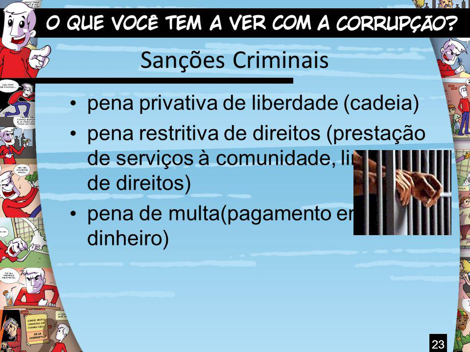 Sanções Criminais pena privativa de liberdade (cadeia) pena restritiva de direitos (prestação de serviços à comunidade, limitações de direitos) pena d