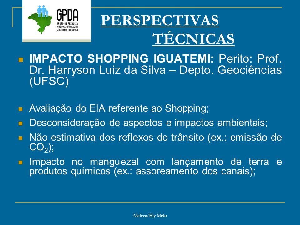 Melissa Ely Melo PERSPECTIVAS TÉCNICAS IMPACTO SHOPPING IGUATEMI: Perito: Prof. Dr. Harryson Luiz da Silva – Depto. Geociências (UFSC) Avaliação do EI