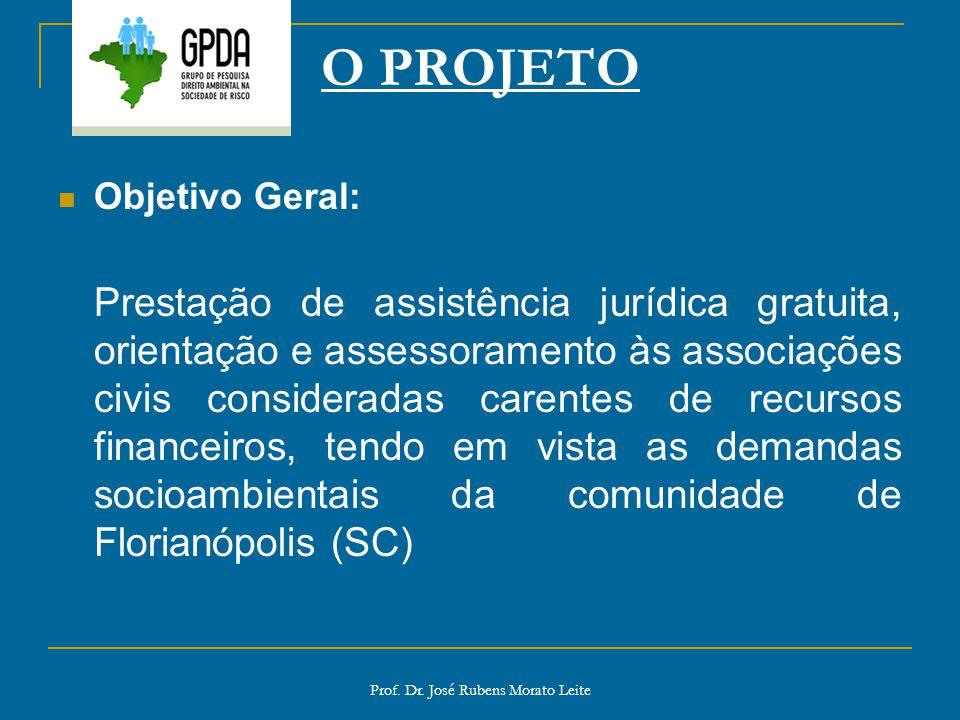 Prof. Dr. José Rubens Morato Leite O PROJETO Objetivo Geral: Prestação de assistência jurídica gratuita, orientação e assessoramento às associações ci