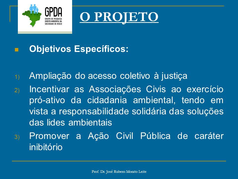 Prof. Dr. José Rubens Morato Leite O PROJETO Objetivos Específicos: 1) Ampliação do acesso coletivo à justiça 2) Incentivar as Associações Civis ao ex