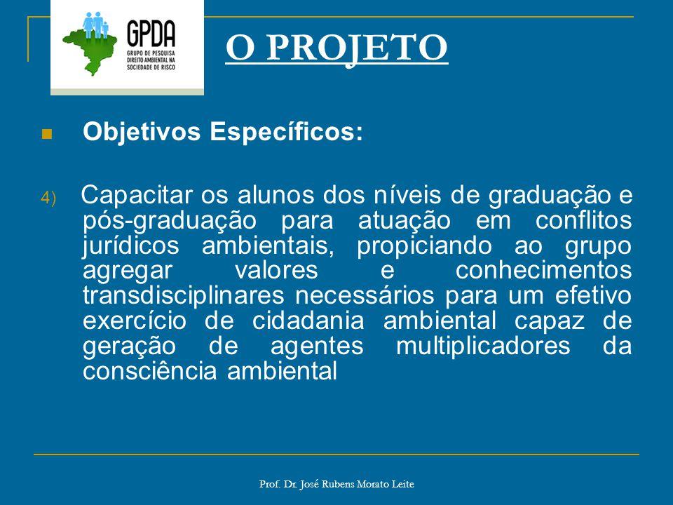 Prof. Dr. José Rubens Morato Leite O PROJETO Objetivos Específicos: 4) Capacitar os alunos dos níveis de graduação e pós-graduação para atuação em con