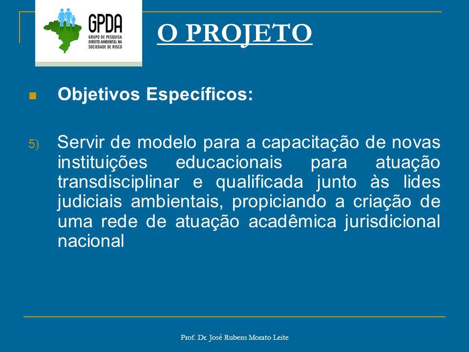 Prof. Dr. José Rubens Morato Leite O PROJETO Objetivos Específicos: 5) Servir de modelo para a capacitação de novas instituições educacionais para atu