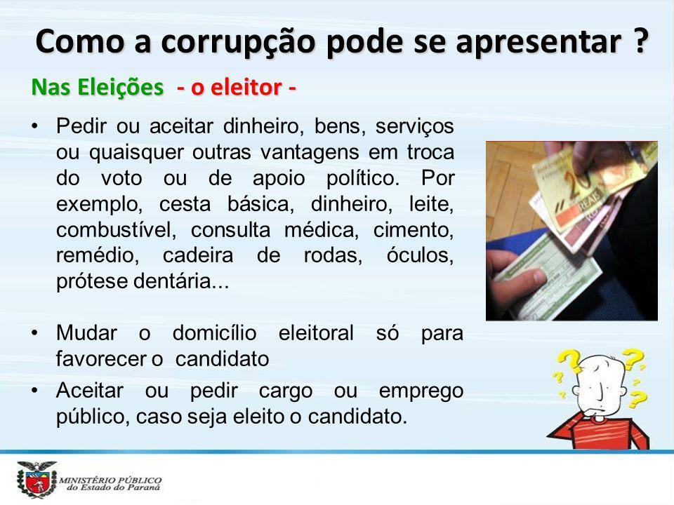 Nas Eleições - o eleitor - Como a corrupção pode se apresentar ? Pedir ou aceitar dinheiro, bens, serviços ou quaisquer outras vantagens em troca do v