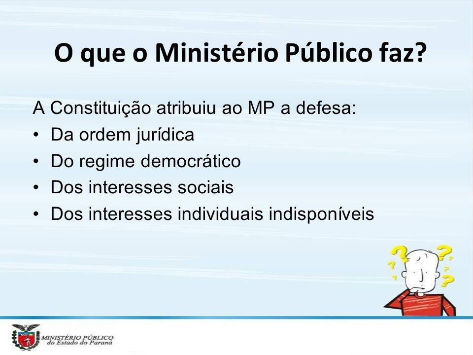 O que o Ministério Público faz? A Constituição atribuiu ao MP a defesa: Da ordem jurídica Do regime democrático Dos interesses sociais Dos interesses