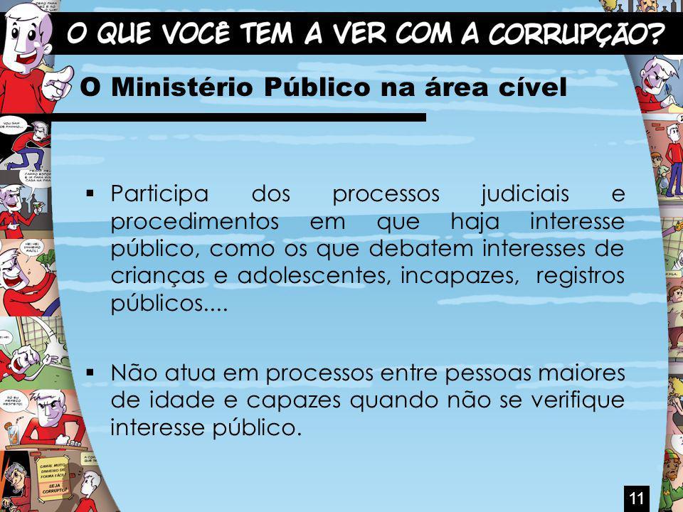 O Ministério Público na área cível Participa dos processos judiciais e procedimentos em que haja interesse público, como os que debatem interesses de crianças e adolescentes, incapazes, registros públicos....