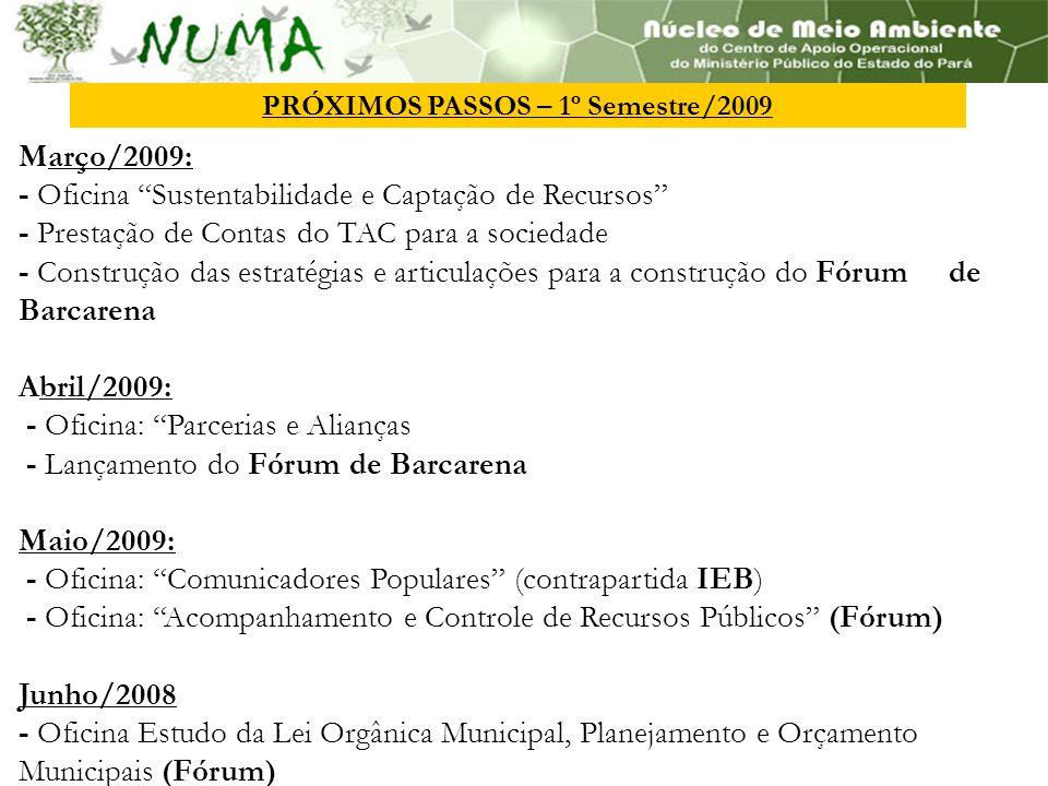Março/2009: - Oficina Sustentabilidade e Captação de Recursos - Prestação de Contas do TAC para a sociedade - Construção das estratégias e articulações para a construção do Fórum de Barcarena Abril/2009: - Oficina: Parcerias e Alianças - Lançamento do Fórum de Barcarena Maio/2009: - Oficina: Comunicadores Populares (contrapartida IEB) - Oficina: Acompanhamento e Controle de Recursos Públicos (Fórum) Junho/2008 - Oficina Estudo da Lei Orgânica Municipal, Planejamento e Orçamento Municipais (Fórum) PRÓXIMOS PASSOS – 1º Semestre/2009
